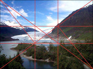 Golden Mean Grid Applied To A Landscape